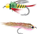 Fishing Flies lures Bug and Minnow Royalty Free Stock Photo