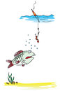 Fishing on the float rod vector illustration Royalty Free Stock Photos