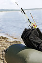 Fishing gear in an inflatable boat after fishing Stock Image