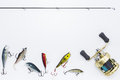 Fishing gear isolate on white Royalty Free Stock Photo