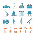 Fishing and holiday icons Stock Images