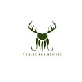 Fishing and hunting illustration with deer horns,paw of bear Royalty Free Stock Photo
