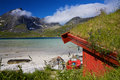 Fishing hut by fjord Stock Photos