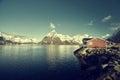 Fishing hut at spring day - Reine, Lofoten islands Royalty Free Stock Photo