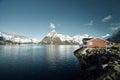 Fishing hut at spring day - Reine, Lofoten islands, Norway Royalty Free Stock Photo