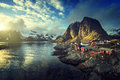 Fishing hut at spring sunset - Reine, Lofoten islands Royalty Free Stock Photo