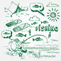 Fishing icons set Royalty Free Stock Image