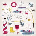 Fishing icons set Royalty Free Stock Photo