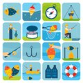 Fishing icons set outdoor vacation fun activity isolated vector illustration Stock Photography