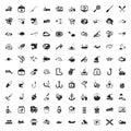 Fishing 100 icons set for web
