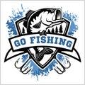 Fishing logo. Bass fish with club emblem. Fishing theme vector illustration. Royalty Free Stock Photo