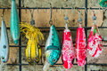 Fishing lure hanging on the wall Stock Photos