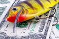 Fishing lure isolated on money background Royalty Free Stock Images