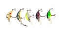 Fishing lures wobblers multicolored with hooks Royalty Free Stock Image