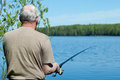 Fishing man with a rod Stock Photos