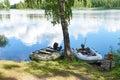 Fishing motor boats on coast of lake
