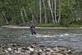 Fishing on the mountain river fishing rod. Fisherman fishing in the mountains. Trout fishing. Royalty Free Stock Photo