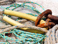 Fishing net detail with floats at the harbor Royalty Free Stock Photo