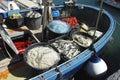 Fishing net inside a boat in portovenere Stock Photo