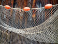 Fishing net at an old port Stock Image