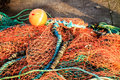 Fishing net orange fishnet outdoor Stock Images