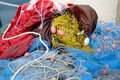 Fishing net yellow Royalty Free Stock Photo