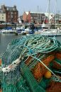 Fishing Nets & Arbroath Harbour, Scotland Stock Photos