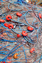 Fishing nets and buoys tackle Stock Image