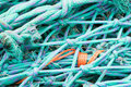 Fishing nets closeup view of and rope Stock Photos