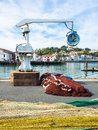 Fishing nets, cranes & port at Saint Jean De Luz, Basque Country Royalty Free Stock Photo