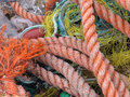 Fishing nets and ropes Stock Images