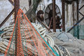 Fishing nets stored in a port israel Stock Photos