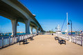 Fishing pier and Clearwater Memorial Causeway, in Clearwater, Fl Royalty Free Stock Photo