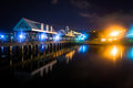 Fishing pier at night, at the Waterfront Park in Charleston, Sou Royalty Free Stock Photo