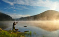 Fishing pike in the rhodope mountains in bulgaria Stock Image