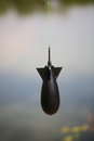 Fishing plummet rocket black bomb hanging on sea line angling accessory equipment for male hobby recreation summer outdoor on Royalty Free Stock Images