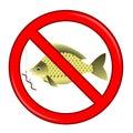 Fishing prohibited sign on white background Stock Photos
