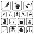 Fishing and rest black icons in set collection for design. Tackle for fishing vector symbol stock web illustration. Royalty Free Stock Photo