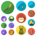 Fishing and rest flat icons in set collection for design. Tackle for fishing vector symbol stock web illustration. Royalty Free Stock Photo