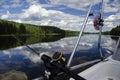 Fishing road on boat at lake Royalty Free Stock Photo