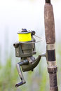 Fishing rod close up of Stock Image