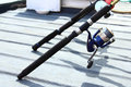 Fishing rod with reel Royalty Free Stock Photos