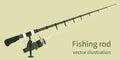 Fishing rod, vector illustration