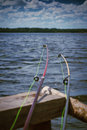 Fishing rods two on a background of the river selective focus on the tips of the Royalty Free Stock Photos