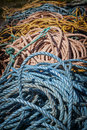 Fishing ropes pile of in north rustico prince edward island canada Royalty Free Stock Photos