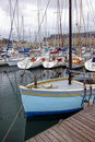 Fishing Sail Boat at Port Dock in Brittany France Stock Image