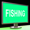 Fishing screen means sport of catching fish meaning Royalty Free Stock Photo