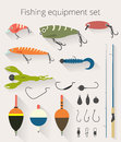Fishing set of accessories for spinning fishing with crankbait lures and twisters and soft plastic bait fishing float Royalty Free Stock Photo
