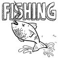 Fishing sports sketch Stock Photos
