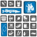 Fishing squared icons collection of different Stock Images